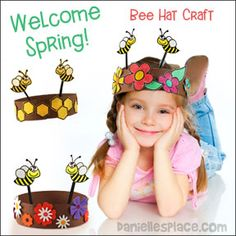 Happy Bees Sprint Hat Craft for Kids from www.daniellesplace.com - Celebrate Spring with these fun-to-make paper hats!