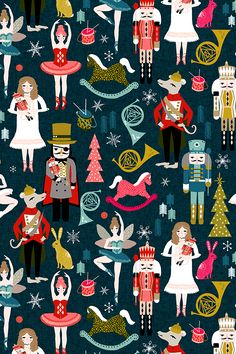 Nutcracker Illustration by andrea_lauren - Indy designer Andrea Lauren created this bright and playful nutcracker illustration with gold, pink, red, and teal on a deep blue background.  We love this designers take on the timeless holiday theme of the nutcracker.  This hand illustrated design is available on fabric, wallpaper, and gift wrap.  #nutcracker #christmas #holiday #holidays #diyholiday #design #surfacedesign #pattern #create