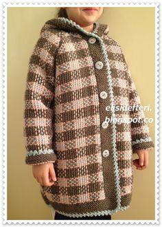 Libro de artesanía: manto de punto a cuadros - Örgü İşleri ( Tığ ile - Şiş ile ) Plaid Crochet, Crochet Coat, Knitted Coat, Crochet Cardigan, Knitting For Kids, Baby Knitting, Crochet Dress Outfits, Tartan, Tweed