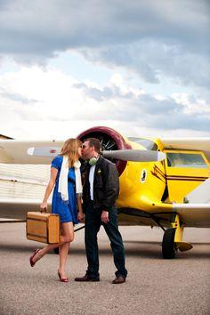 Retro Aviator Engagement Shoot -- how cute!