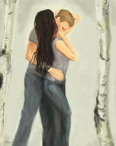 "Couple Art Print Couple Painting Couple Wall Art Decor Kissing Aspen Trees Couple in Love Romantic Art ""LOVE LASTS"" Leslie Allen Fine Art by LeslieAllenFineArt on Etsy"
