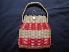 1940's Red and white plastic woven handbag. by vintagewayoflife, $95.00