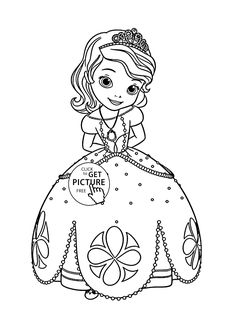 Princess Sofia coloring page for kids, disney for girls coloring pages printables free - Wuppsy.com