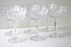 Vintage Set of 6 Crystal Champagne Coupes