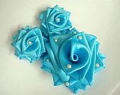 Turquoise Satin Roses with Pearls - Bridal Hair Fascinator - Free Shipping to the USA on All Items 20 Dollars and Above