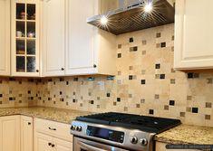 santa cecilia granite travertine backsplash with brown beige glass insert