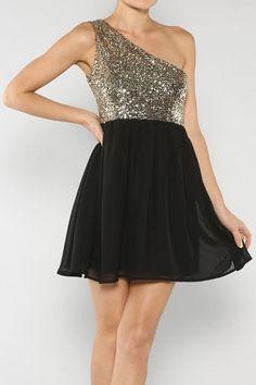 Sequin One Shoulder Dress: Black