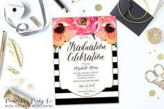 Paper & Party Supplies  Paper  Invitations & Announcements  Invitations  bridal shower  bachelorette party  wedding invite custom invite  customizable invite  DIY printable  floral party  watercolor flowers  gold glitter  baby shower  graduation 2015 grad announcement  class of stripes