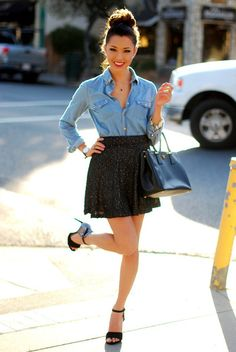 Love the denim shirt with a black skirt
