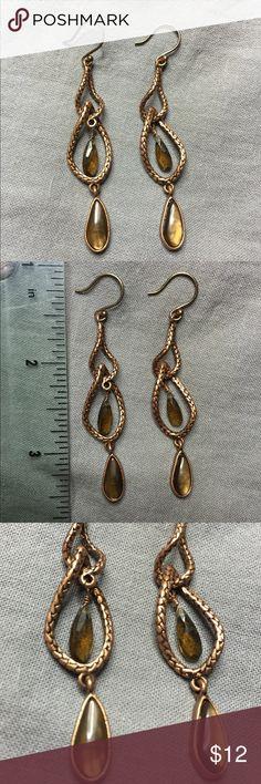 Copper Snake Skin & Tigers Eye Earrings NWOT absolutely stunning pair of earrings. NWOT. real tigers eye. Jewelry Earrings