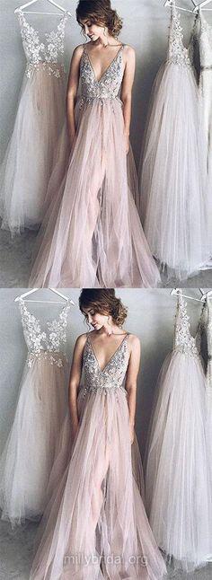 Long Prom Dresses, Princess Prom Dresses V-neck, 2018 Prom Dresses Tulle, Girls Prom Dresses Beading, Modest Prom Dresses Backless