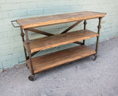 Reclaimed Wood and Iron Display Shelf on Wheels