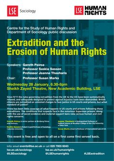 Public discussion at LSE on 28 January 2015 with high profile solicitor Gareth Peirce, Saskia Sassen, Jeanne Theoharis.