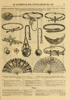 Victorian fashion 1886 jewelry and handfans Steampunk Fashion, Victorian Fashion, Vintage Fashion, Victorian Jewelry, Antique Jewelry, Vintage Jewelry, Victorian Style Tattoos, Vintage Costume Jewelry, Vintage Costumes