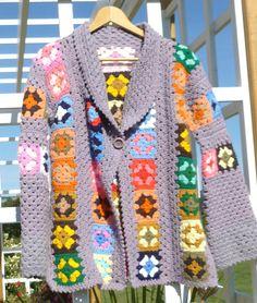 Granny Squares свитера кардигана Винтаж по BornAtTheWrongTime