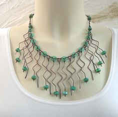Copper Turquoise Bib Necklace Wire Wrapped Jewelry Handmade Zig Zag Pacific Blue Green Opal Picasso Glass Beads. $70.00, via Etsy.