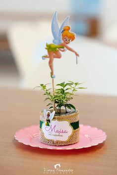 Centerpiece from a Tinkerbell Fairy Garden Birthday Party via Kara's Party Ideas KarasPartyIdeas.com (15)