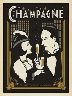 Champagne, Art Deco Style - This Art Deco design is printed on gallery-grade paper and is sure to be a conversation piece for years to come. Created in the spirit of the roaring 20's, it celebrates the good life in clasic, elegant style.<br />