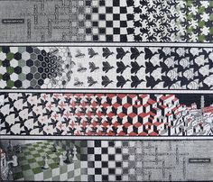 Escher. Metamorphosis II, 1939–1940. Woodcut, cm. 19.2 cm × 389.5