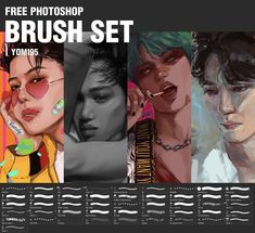 "Yomi~exo fanartist en Instagram: ""Free Photoshop Brush Set with all my favorite ones ~ The link is on my bio if you want to try them ☺️ They're a compilation of different…"" Free Photoshop, Photoshop Brushes, Free Brushes, Brush Set, Exo, My Favorite Things, Link, Artwork, Movie Posters"