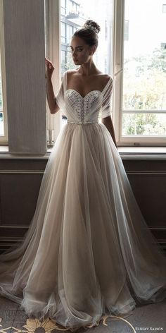 elihav sasson spring 2018 bridal illusion half sleeves sweetheart beaded bodice ball gown wedding dress (vj 006) mv train princess romantic