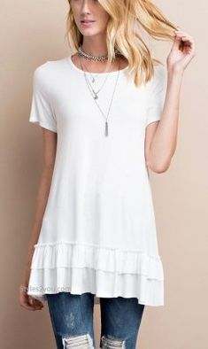 Sailer Ruffle Shirt Dress Shirt Extender In Off White Easel Top