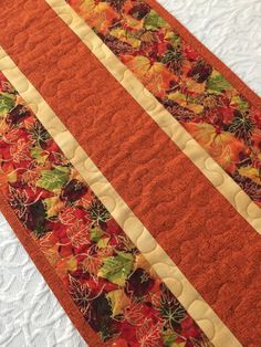 Fall Thanksgiving Table Runner Quilt, Leaves Topper, Fall Autumn Quilt, Orange, Brown, Quiltsy Handmade by KeriQuilts on Etsy