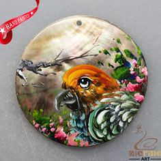 HAND PAINTED PARROT NATURAL MOP MOTHER OF PEARL SHELL NECKLACE PENDANT ZL3005900 #ZL #PENDANT