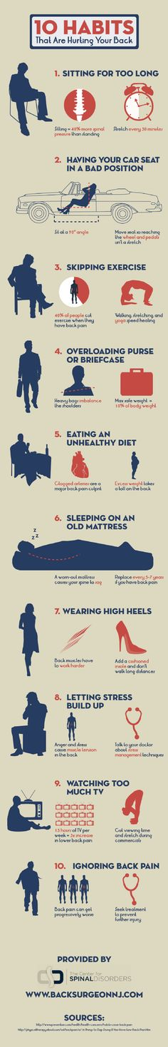 10 Habits That Are Hurting Your Back [INFOGRAPHIC] #habits #hurting