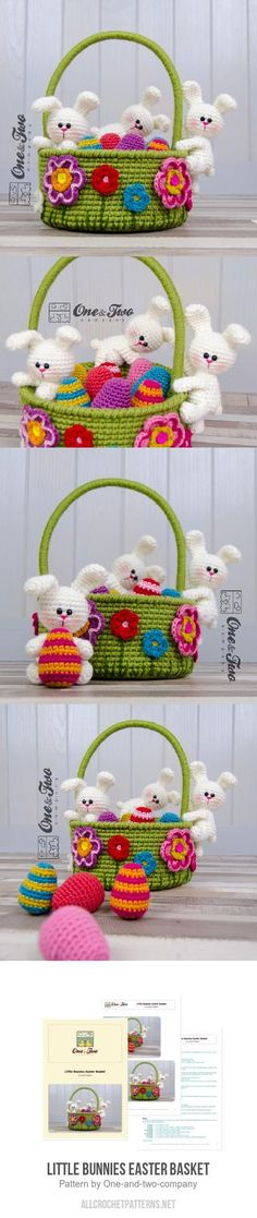 Inspriation only Little Bunnies Easter Basket Crochet Pattern