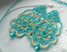 Turquoise Dangle Lace Tatted Earrings with by TattingLaceJewellery