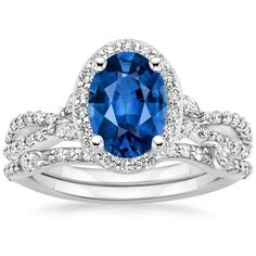 Blue Sapphire Luxe Willow Halo Engagement Ring - 18K White Gold