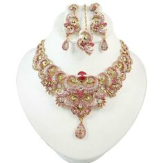 Bollywood Rosa CZ Ethnische Halskette Set indische Hochzeits- Party- Wear Designer Damen -Schmuck-Geschenk | Your #1 Source for Jewelry and ...