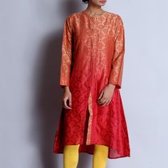 Red & Beidge Asymmetrical Chanderi Hand Block Printed Kurta With Front Button Details Kurta Designs Women, Tunic Tops, Dresses With Sleeves, Buttons, Front Button, Long Sleeve, Casual, Red, Prints