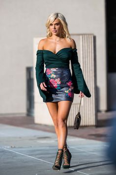 CJ Perry at Saks in Beverly Hills October 2017 Navy Seal Shirts, Lana Wwe, Wwe Outfits, Cj Perry, Wwe Female Wrestlers, Latina Girls, Wwe Womens, Leather Mini Skirts, Beverly Hills
