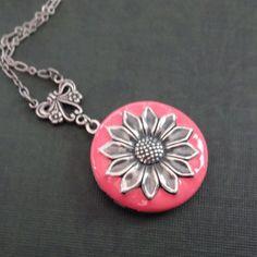 Silver Pink Sunflower Locket Necklace, Pink Enamel Sunflower Necklace, Pink Flower Necklace, Birthday Best Friend Bridesmaid Gift