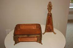 Vintage Dresser Vanity Set Comb Brush Mirror Pink