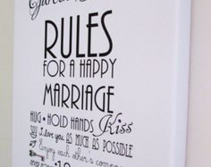 """Personalised Rules For A Happy Marriage Lucky Key Wedding Day , Anniversary Print On Read To Hang Canvas  12"""" - 8"""" ( A4 ) Word Art Gift Sign"""