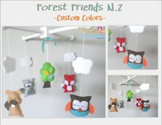 Baby Crib Mobile-Forest Friends N.2 Crib Mobile-Custom Made Mobiles-Forest Animals Mobile $58