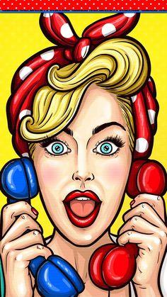 Wallpaper pin up Bd Pop Art, Pop Art Girl, Up Girl, Gravure Illustration, Pop Art Illustration, Pop Art Drawing, Art Drawings, Drawing Ideas, Pin Up Retro