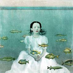Artwork by Beth Conklin Illustrations, Illustration Art, Collage Art Mixed Media, Surreal Art, Surreal Portraits, Fish Art, Whimsical Art, Art Plastique, Portrait Art