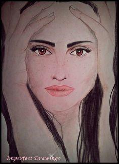 Penelope Cruz, drawing, imperfect drawings-carolina dudrova, carolina dudrova, pencils, portrait, art