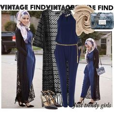 lace kimono with jumpsuit outfit,Long kimono cardigan hijab style http://www.justtrendygirls.com/long-kimono-cardigan-hijab-style/