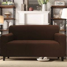 Sally Form Fit 4-Way Stretch Furniture Slipcover Sofa, Loveseat or Chair, Polyester, Brown