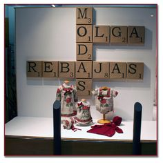 Escaparate Rebajas.   Love the oversized scrabble letters