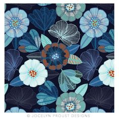 """Throwback to one of my earlier designs """"Abundance"""" with a change of palette 💙 © Jocelyn Proust 2018 Motifs Textiles, Textile Patterns, Surface Pattern Design, Pattern Art, Floral Illustrations, Graphic Illustration, Motif Vintage, Motif Floral, Art Graphique"""