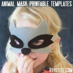 Animal Mask Printable Templates owl, fox, deer and racoon