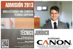 Somos los creadores de la Carrera de Técnico Jurídico. Estamos ubicados en Brasil 96, fono 022-6635100, escribir a extensión@cftcanon.cl  www.cftcanon.cl Carrera, Brazil