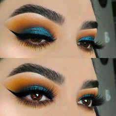 Beautiful blue eyeshadow look for brown eyes! #eyemakeup #browneyes #makeupforbrowneyes