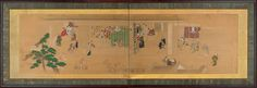 Furosaki; two-fold screen Scenes at the pleasure quarters circa 1700 cm 56 x 160.5 cm In the pleasure district of Yoshikawa in Edo, the stringent codes were meant to be forgotten. In this painting some clients are watching from outside the teahouse, while some are entering, one of them with the face hidden under a large basket hat. This ukiyo-e screen is representative of type of genre painting that had its origins in Rakuchū rakugai zu, but which abandons a comprehensive view of the city…